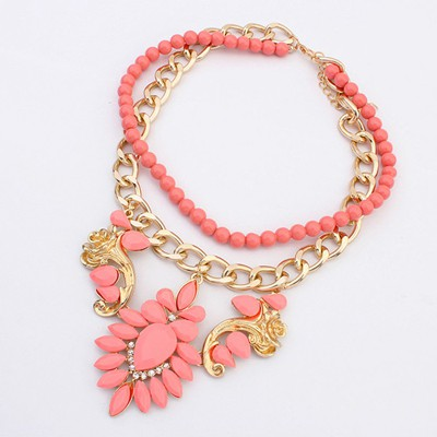 Punk Peach Red Gemstone Flower Decorated Double Layer Design Alloy Chains