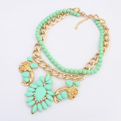 Cute Light Green Gemstone Flower Decorated Double Layer Design Alloy Chains