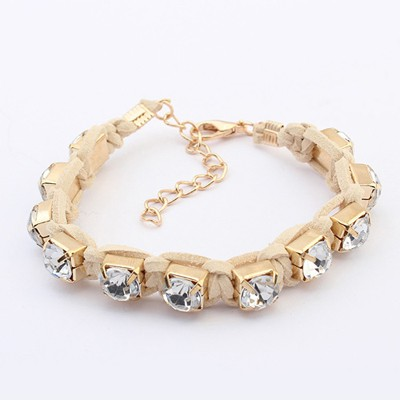 Hanging Beige Rope Weaving Sparkly Diamond Design Alloy Korean Fashion Bracelet