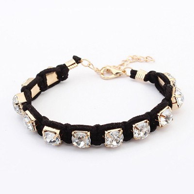 Casual Black Rope Weaving Sparkly Diamond Design Alloy Korean Fashion Bracelet
