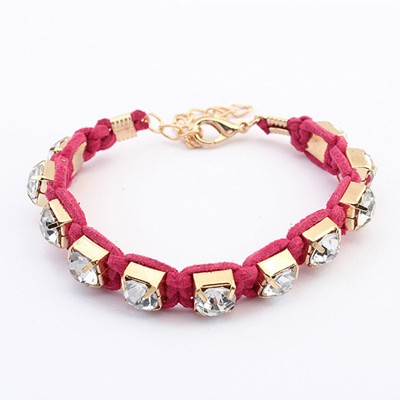 Milly Purplish Red Rope Weaving Sparkly Diamond Design Alloy Korean Fashion Bracelet