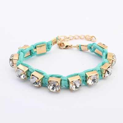 Marvelous Blue Rope Weaving Sparkly Diamond Design Alloy Korean Fashion Bracelet