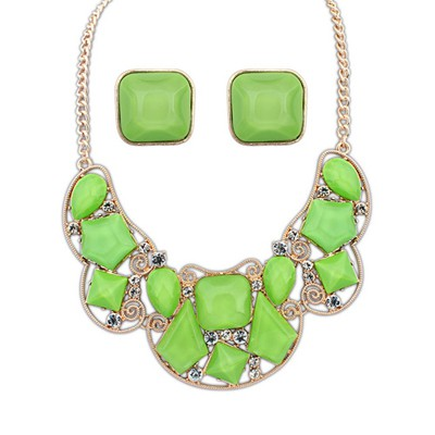 Awesome Green Irregular Gemstone Decorated Design Alloy Jewelry Sets
