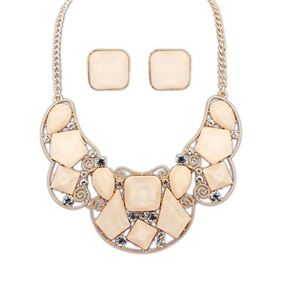 Stylish Beige Irregular Gemstone Decorated Design Alloy Jewelry Sets
