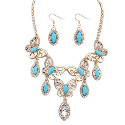 Buckle Light Blue Boutique Butterfly Tears Decorated Design Alloy Jewelry Sets