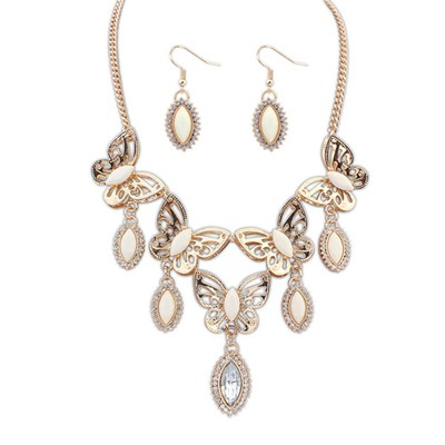 Slacks Beige Boutique Butterfly Tears Decorated Design Alloy Jewelry Sets