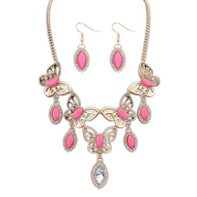 Decorative Plum Red Boutique Butterfly Tears Decorated Design Alloy Jewelry Sets
