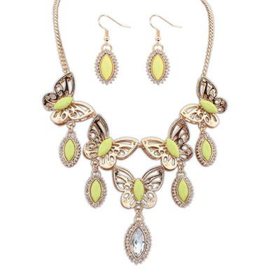 Rave Yellow Boutique Butterfly Tears Decorated Design Alloy Jewelry Sets