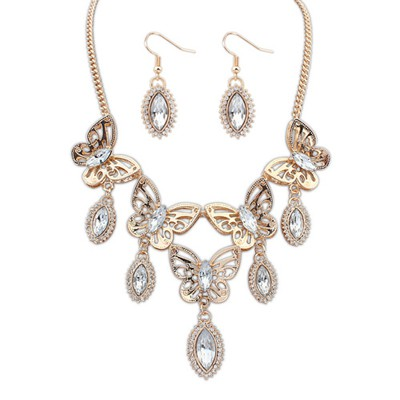 Homemade White Boutique Butterfly Tears Decorated Design Alloy Jewelry Sets