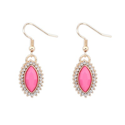 Celtic Plum Red Boutique Tear Drop Shape Design Alloy Korean Earrings