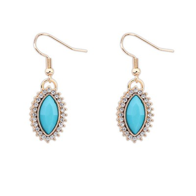 Pewter Light Blue Boutique Tear Drop Shape Design Alloy Korean Earrings