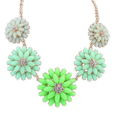 Roll Green&Light Blue Double Layer Flower Decorated Alloy Bib Necklaces
