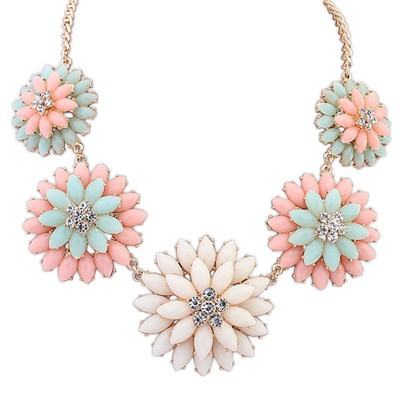 Slim Beige&Pink Double Layer Flower Decorated Alloy Bib Necklaces