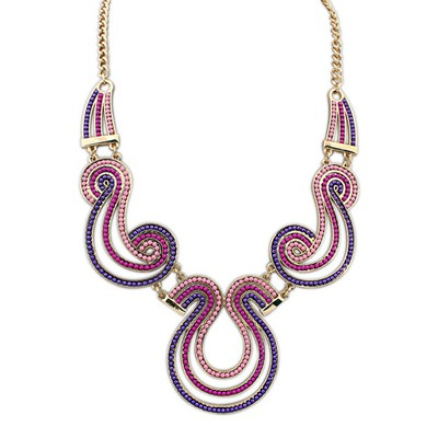 Inexpensiv Purple Vintage Exotic Personality Design Alloy Bib Necklaces