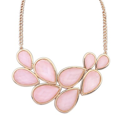 Alternativ Light Pink Double Layer Water Drop Gemstone Decorated Alloy Bib Necklaces