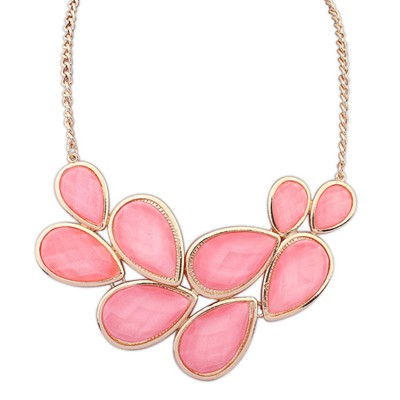 Bespoke Pink Double Layer Water Drop Gemstone Decorated Alloy Bib Necklaces