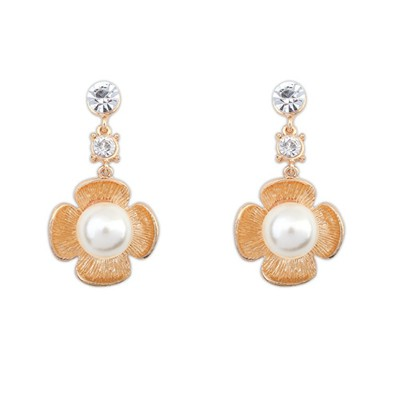 Minted Kc Gold Four Petals Pearl Flower Design Alloy Korean Earrings