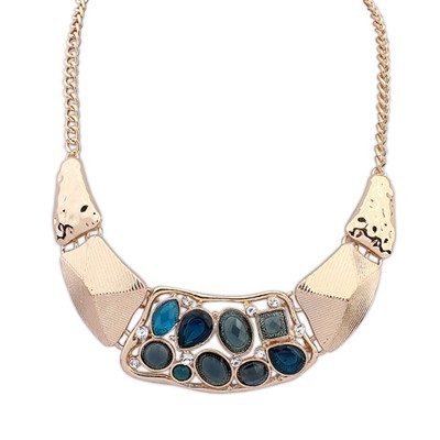 Profession Sapphire Hollow Out Gemstone Decorated Alloy Bib Necklaces