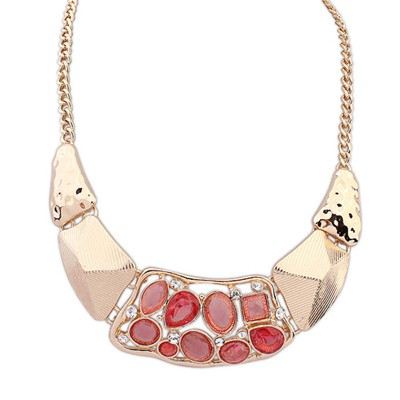Timeless Pink Hollow Out Gemstone Decorated Alloy Bib Necklaces