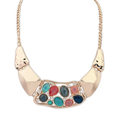 Diabetic Multicolor Hollow Out Gemstone Decorated Alloy Bib Necklaces
