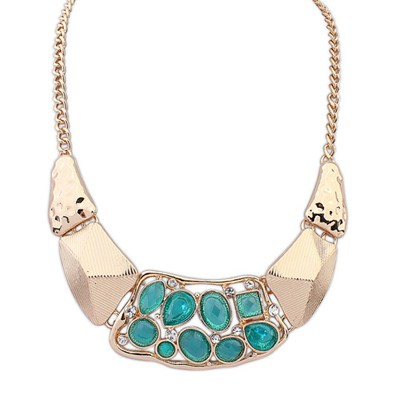 Afrocentri Light Blue Hollow Out Gemstone Decorated Alloy Bib Necklaces