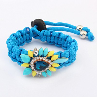 French Blue Water Drop Gemstone Decorated Weave Rope Design Alloy Korean Fashion Bracelet