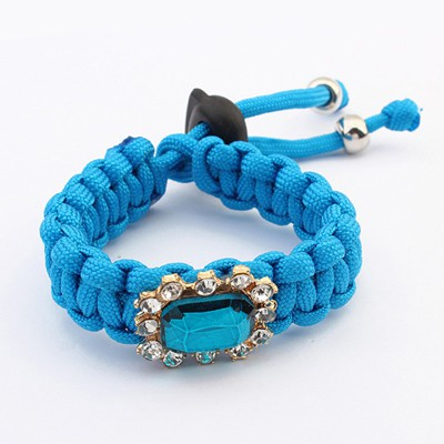 Sweet Blue Square Gemstone Decorated Weave Rope Design Alloy Korean Fashion Bracelet