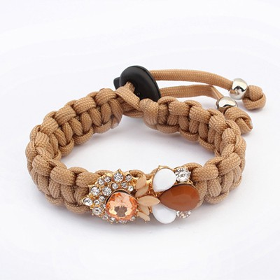 Fashion Coffee Gemstone Decorated Weave Rope Design Alloy Korean Fashion Bracelet