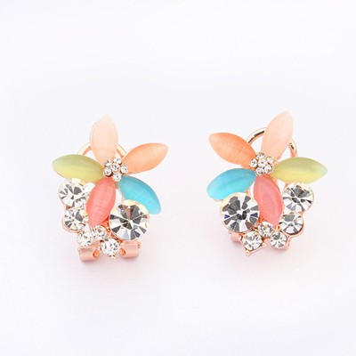 Pendant Multicolor Five Petal Flower Gemstone Decorated Alloy Stud Earrings