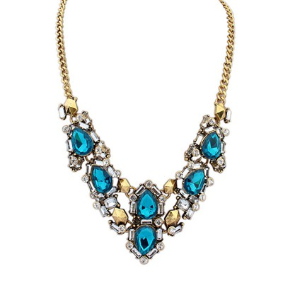 Athletic Color Blue Gemstone Decorated V Shape Design Alloy Bib Necklaces