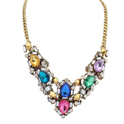 Peridot Multicolor Gemstone Decorated V Shape Design Alloy Bib Necklaces