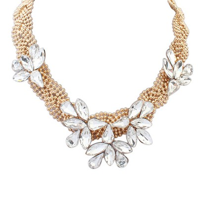 Custom KC Gold Gemstone Flower Decorated Beads Chain Design Alloy Bib Necklaces
