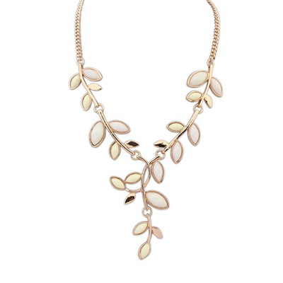 Amethyst Beige Bohemia Style Simple Leaf Decorated Alloy Bib Necklaces