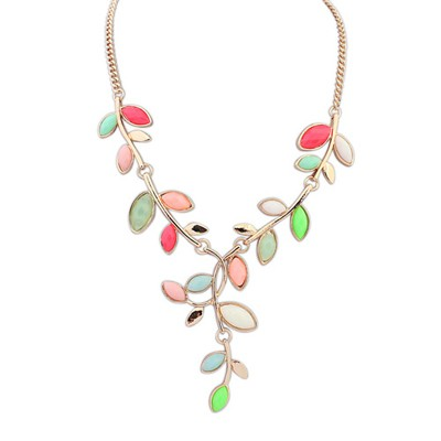 Screw Multicolor Bohemia Style Simple Leaf Decorated Alloy Bib Necklaces