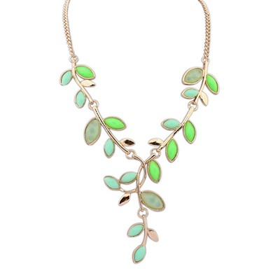 Free Green Bohemia Style Simple Leaf Decorated Alloy Bib Necklaces