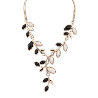 Extreme Black&Beige Bohemia Style Simple Leaf Decorated Alloy Bib Necklaces