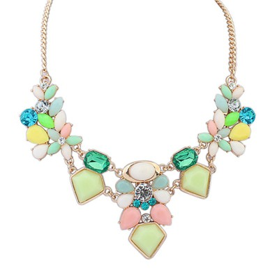 Wishbone Green Irregular Gemstone Decorated Alloy Bib Necklaces