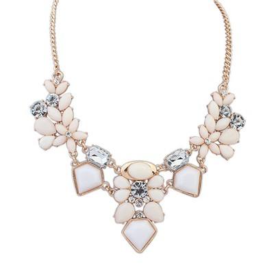 Expensive Beige Irregular Gemstone Decorated Alloy Bib Necklaces