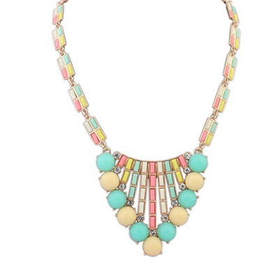 Lightest Multicolor Hollow Out Triangle Pendant Design Alloy Bib Necklaces
