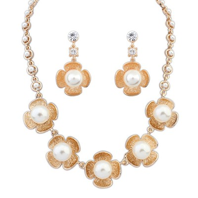 Christmas Gold Color Four-Leaf Clover Pearl Design Alloy Jewelry Sets