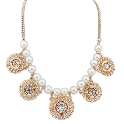 Street Gold Color Hollow Out Round Metal Pearl Design Alloy Bib Necklaces