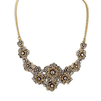 Harry Antique Gold Exquisite Flower Pearl Decorated Alloy Bib Necklaces