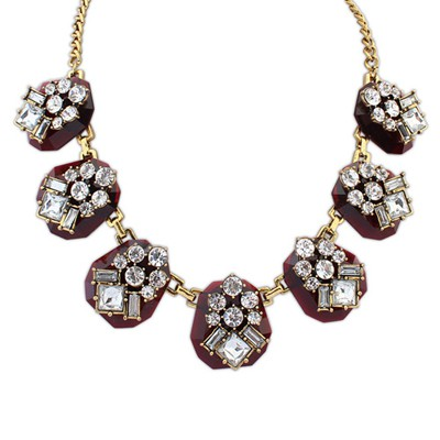 Fitness Claret-Red Punk Geometric Shape Gemstone Decorated Alloy Bib Necklaces