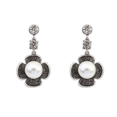 Sullen Antique Silver Four-Leaf Clover Pearl Design Alloy Stud Earrings