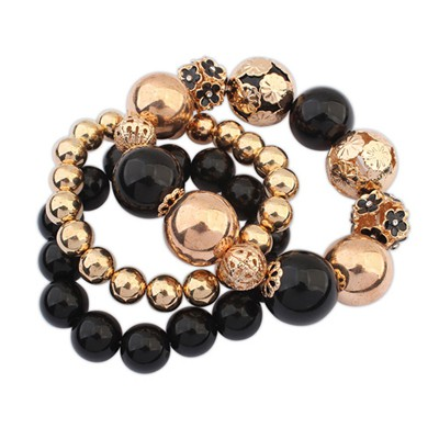 Monarchy Gold Color Multilayer Elastic Weave Bead Design Alloy Korean Fashion Bracelet