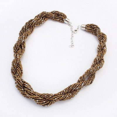 Flip Coffee Bohemia Beads Twisted Simple Design Alloy Beaded Necklaces