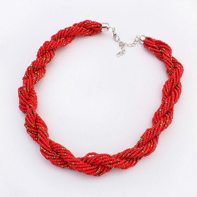 Homecoming Red Bohemia Beads Twisted Simple Design Alloy Beaded Necklaces