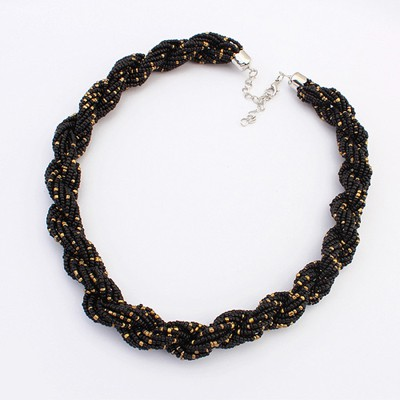 Greek Black Bohemia Beads Twisted Simple Design Alloy Bib Necklaces