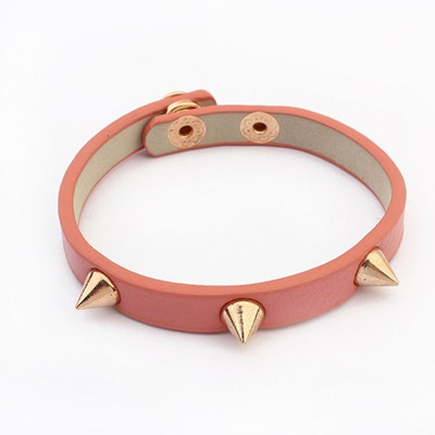 Venetian Pink Rivet Decorated Punk Style Alloy Korean Fashion Bracelet