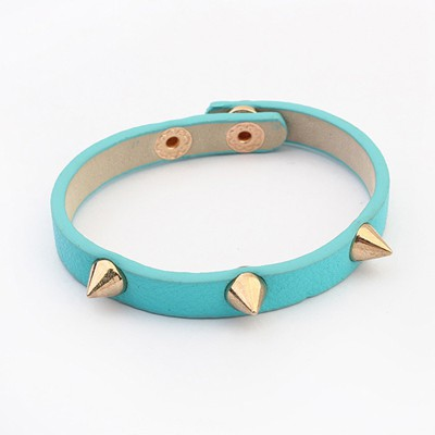 Diabetic Light Blue Rivet Decorated Punk Style Alloy Korean Fashion Bracelet
